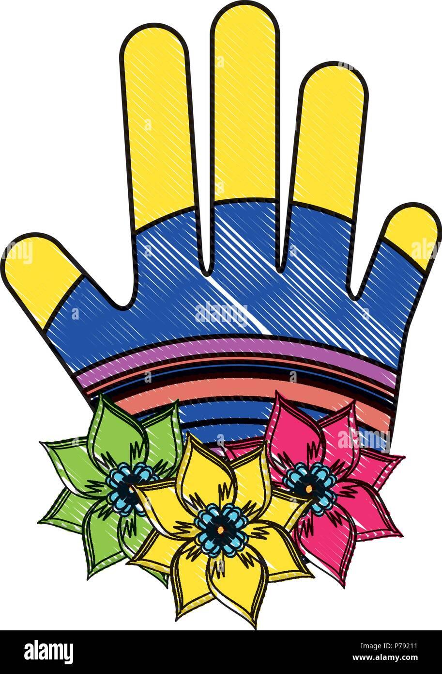 Hamsa hand with beautiful flowers design over white background hamsa hand with beautiful flowers design over white background vector illustration izmirmasajfo