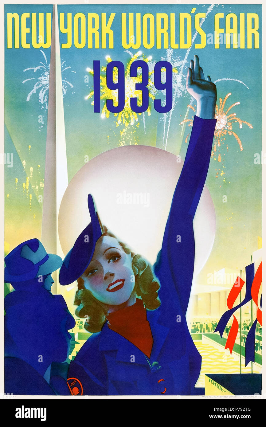 'New York World's Fair 1939' poster by Albert Staehle (1899-1974) showing a tour guide with the Trylon and Perisphere and fireworks going off in the background. See more information below. - Stock Image