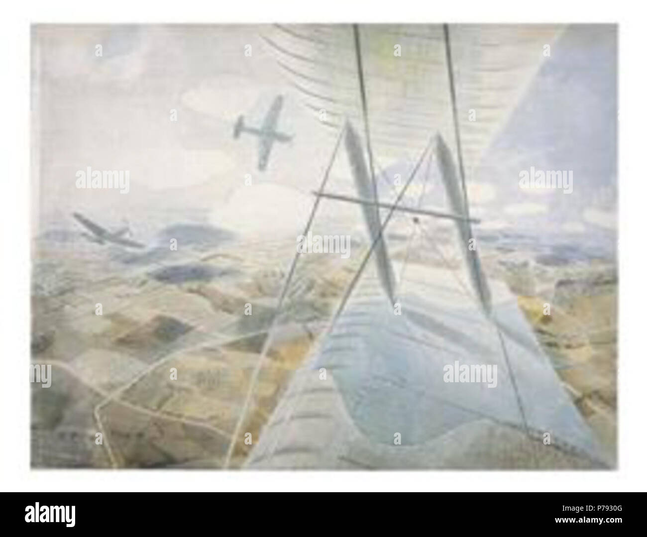 Work by Eric Ravilious . before 1942 49 Ravilious - raf-hurricanes-in-flight-ww2 - Stock Image