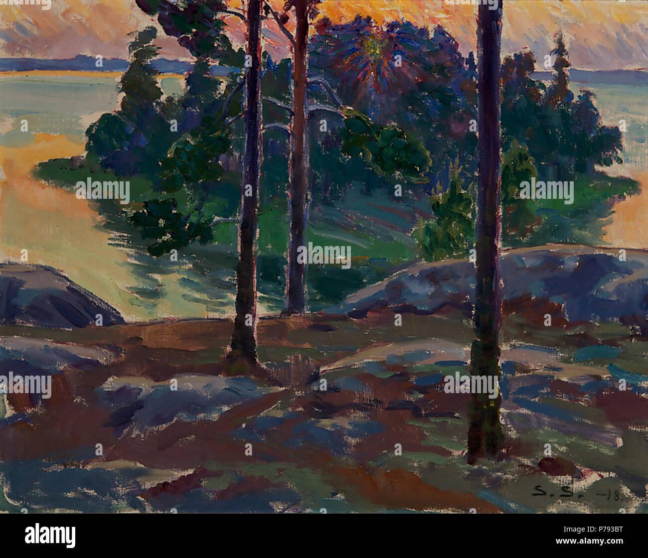 Suomi: Auringonlasku saaristossa, öljy kankaalle, sign. 1918, 39,5 x 49 . 1918 50 Salokivi, Santeri Auringonlasku saaristossa - Stock Image