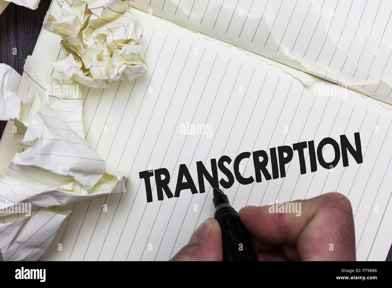 Conceptual hand writing showing Transcription. Business photo showcasing Written or printed process of transcribing words text voice Paper object note - Stock Image