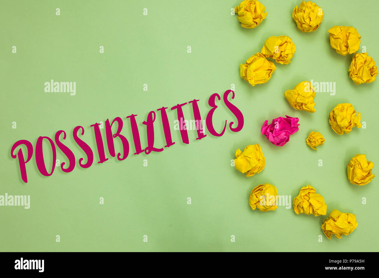 Handwriting text writing Possibilities. Concept meaning Things that may happen or be the case State of being possible Paper object love ideas cool cru - Stock Image