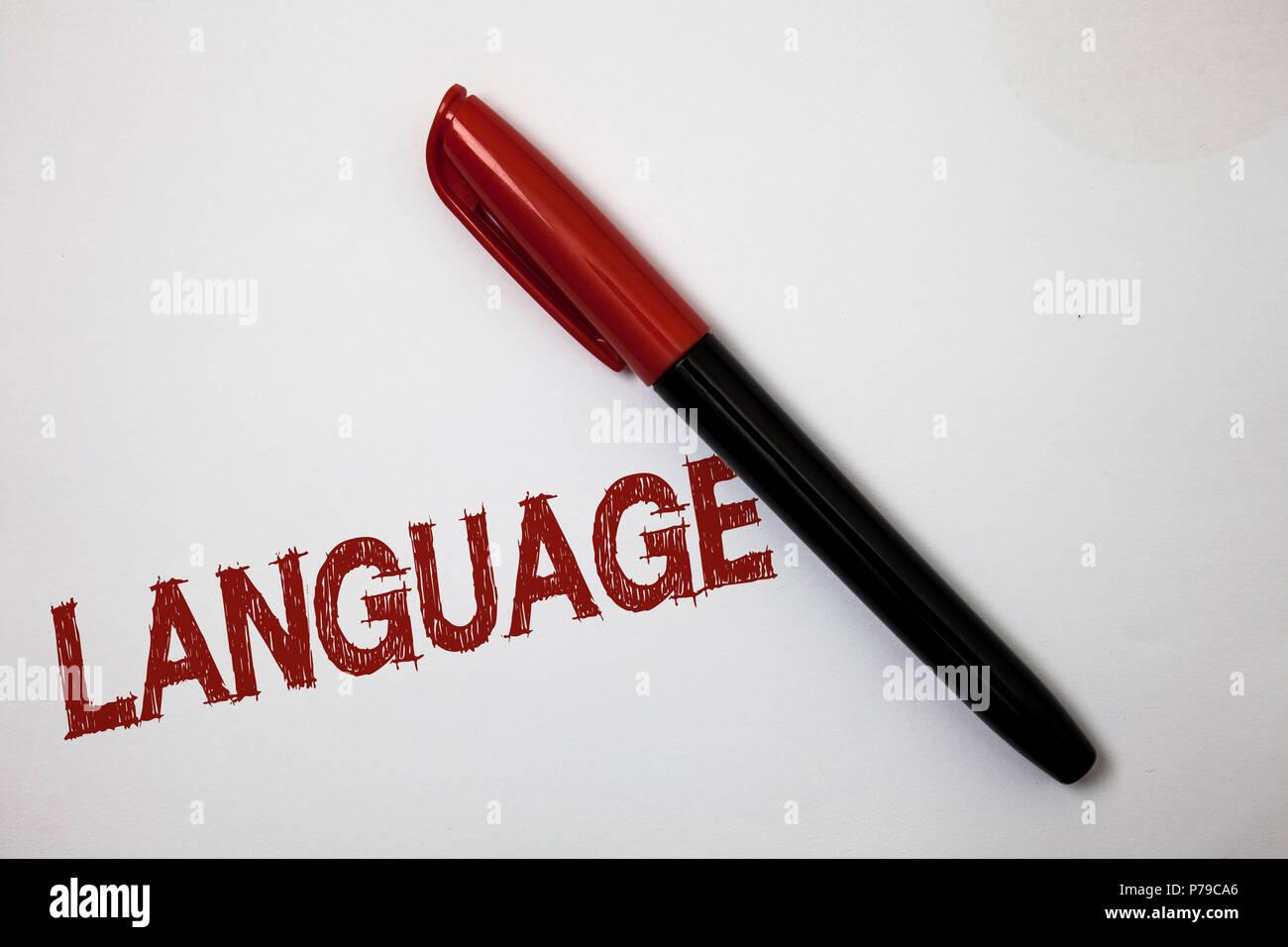 Writing note showing Language. Business photo showcasing Method of human communication Spoken Written Use Words Expression Softliner pointer ink handw - Stock Image