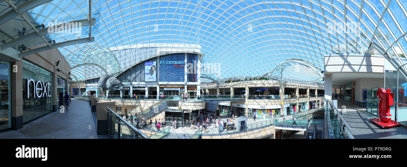 Trinity Leeds Shopping Centre panorama - Stock Image