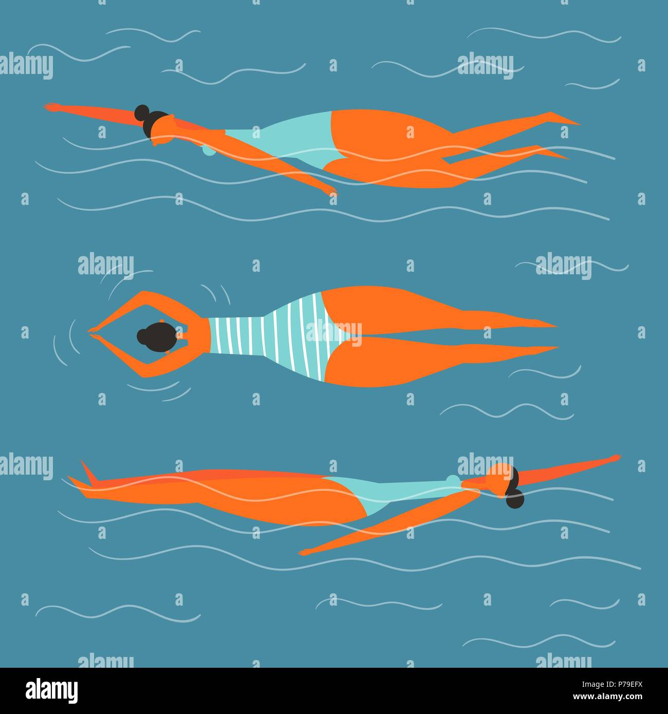 Girl is swimming in her swimming suit in the pool - Stock Vector