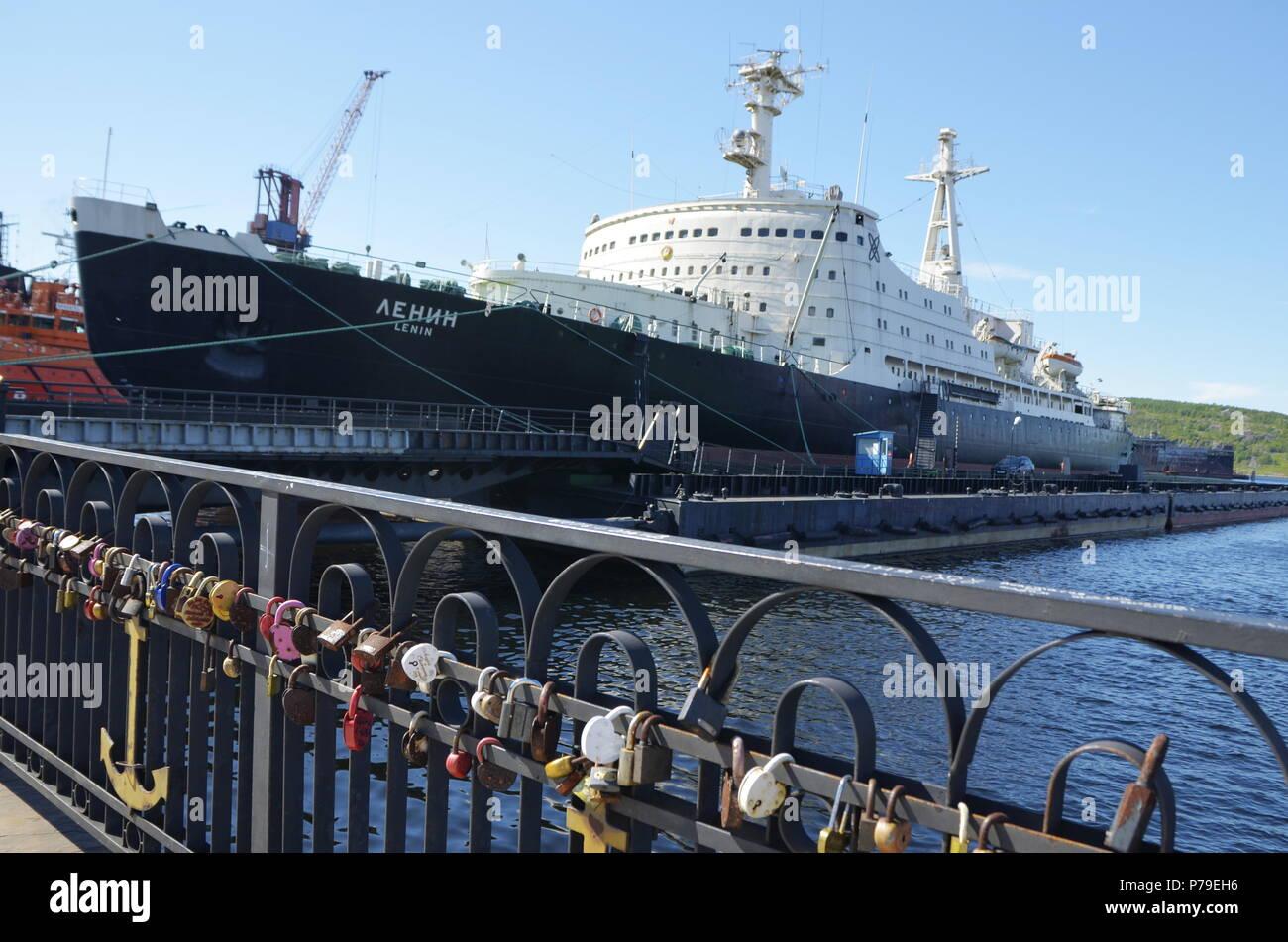 Lenin Nuclear Powered Ship in Murmansk, Russia - Stock Image