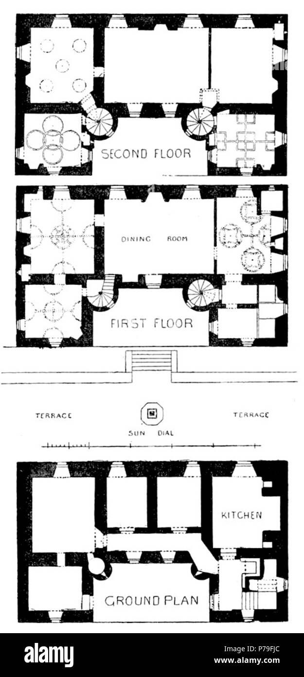 English Floor Plans Of Pitreavie Castle Before 1885 By 1887 13 Pitreavie Castle Floor Plans Stock Photo Alamy