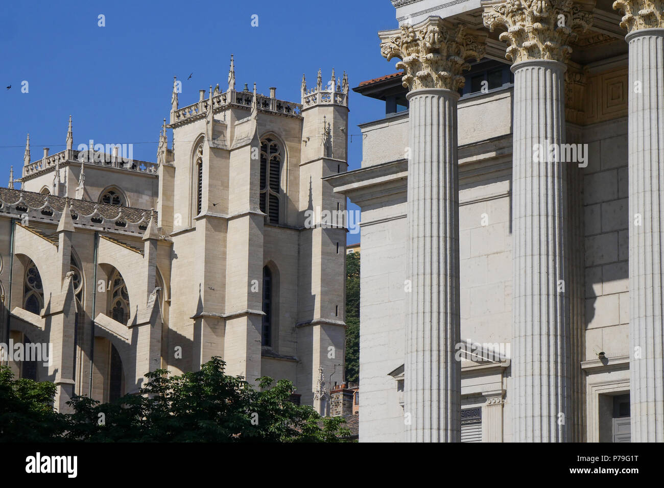 Saint-Jean Cathedral and Lyons Court of Appeal, Saint-Jean district, Lyon, France - Stock Image