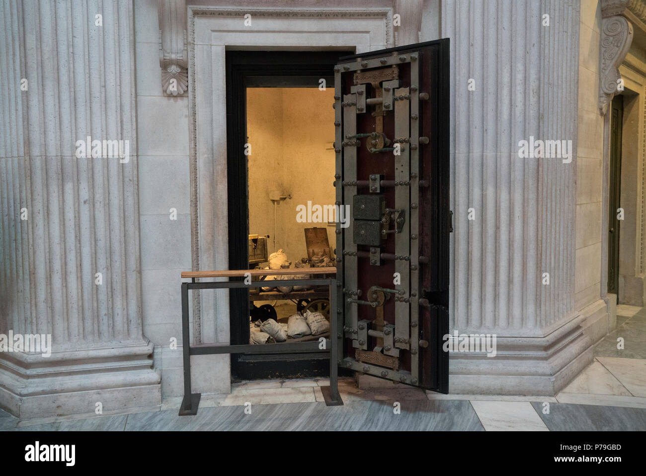 A vault in Federal Hall National Memorial in Manhattan's Financial District shows its former use to store currency. Federal Hall is now a museum. - Stock Image