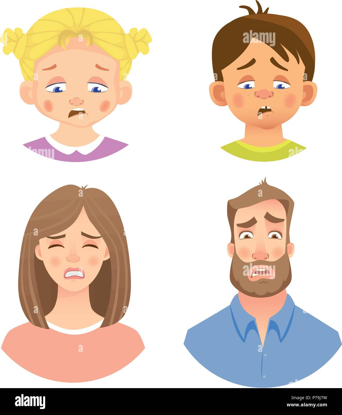 Emotions of human face. Set of avatars with different emotions. Vector illustration - Stock Vector