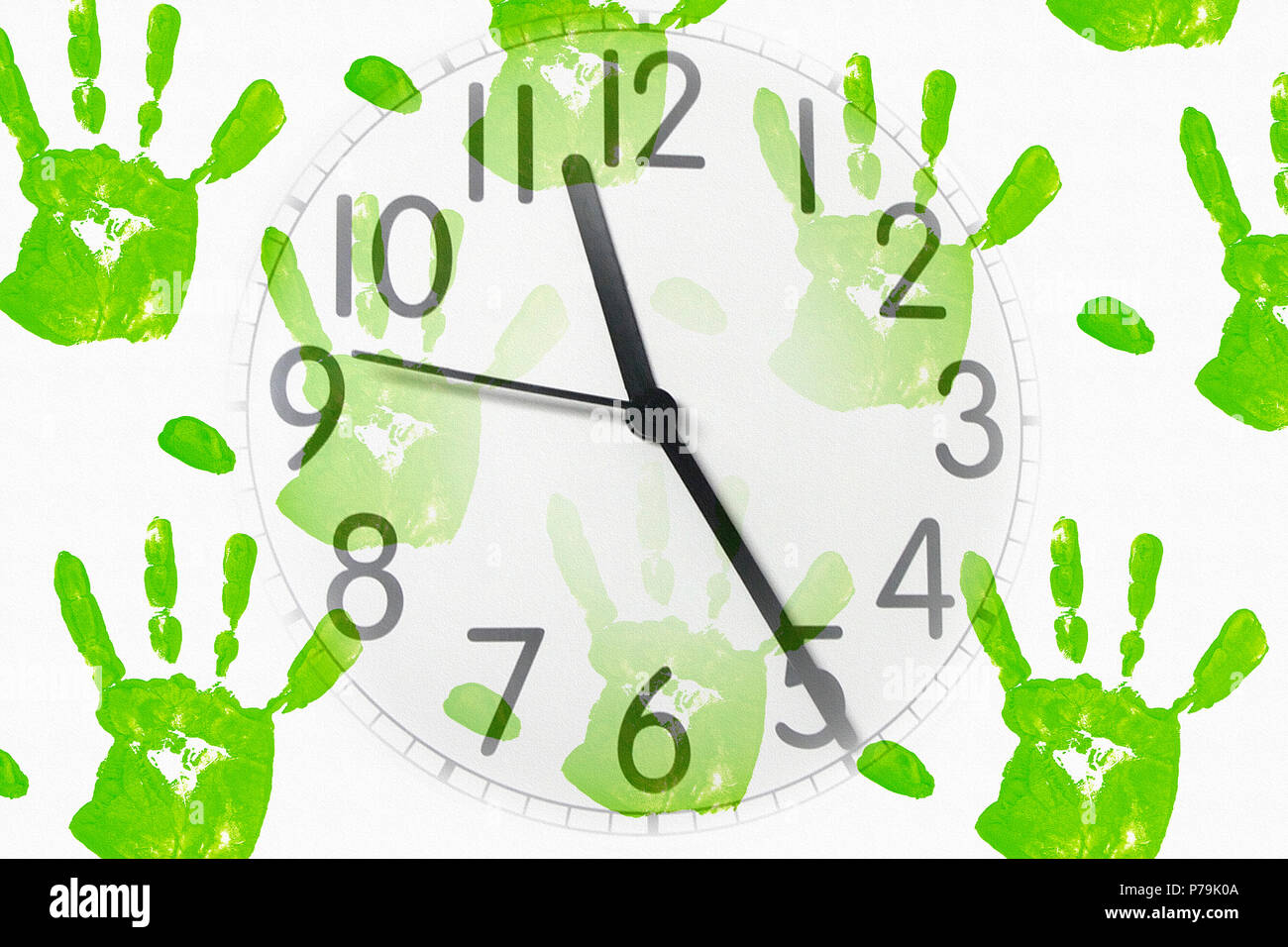 An Image Of A Clock On Handprint Background Stock Photo
