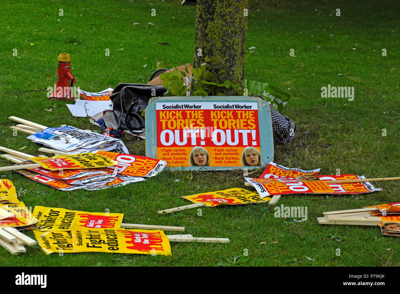 Placards on the ground before a demonstration held on College Green, Bristol, UK on 10 June 2017 in the wake of the general election - Stock Image