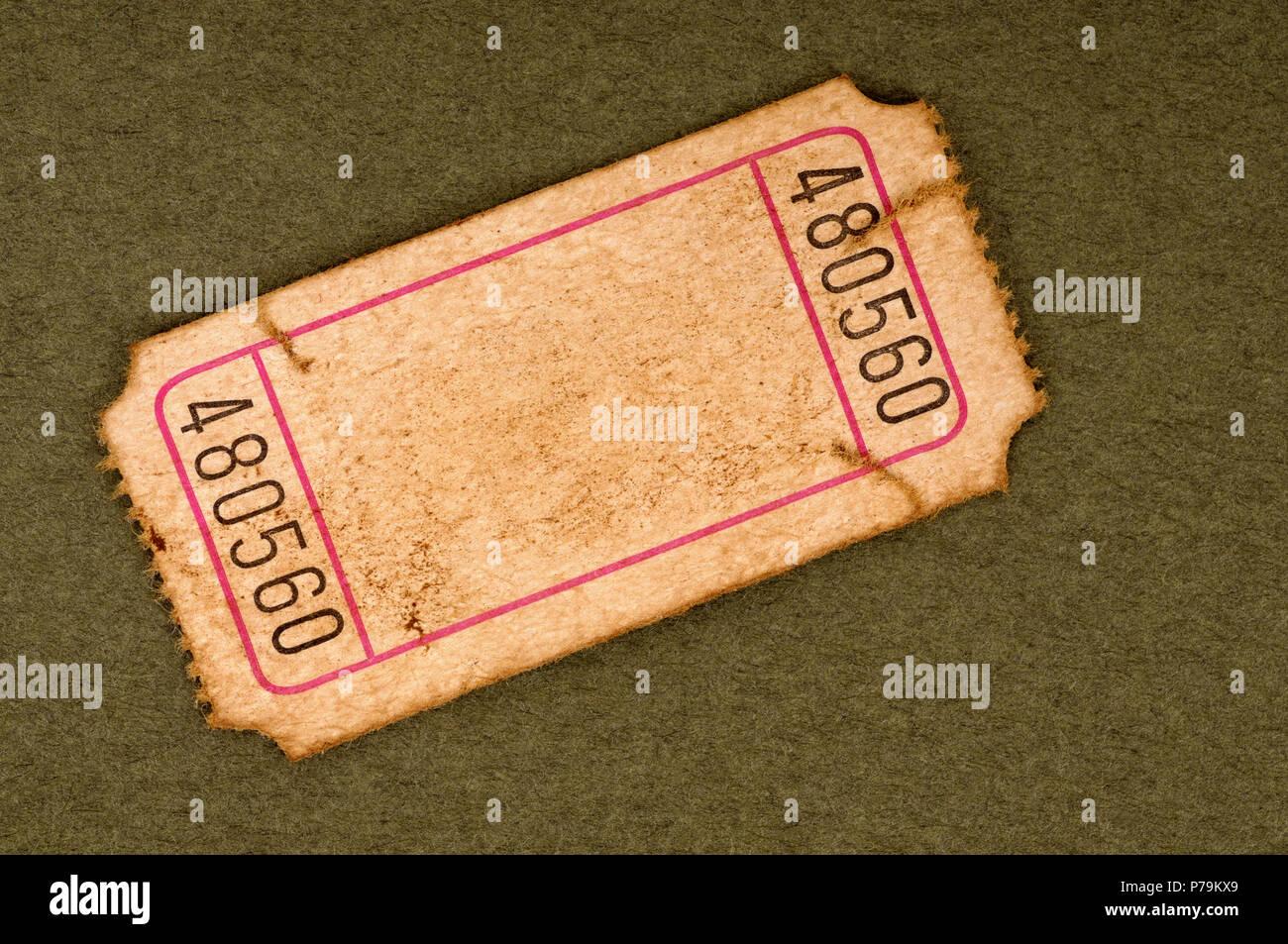 Old blank ticket stub - Stock Image