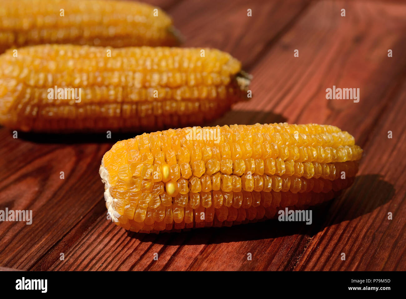 Corn of the last harvest lie on a wooden background - Stock Image