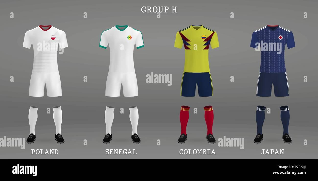 Set Of Football Kit Shirt Template For Soccer Jersey Vector Illustration