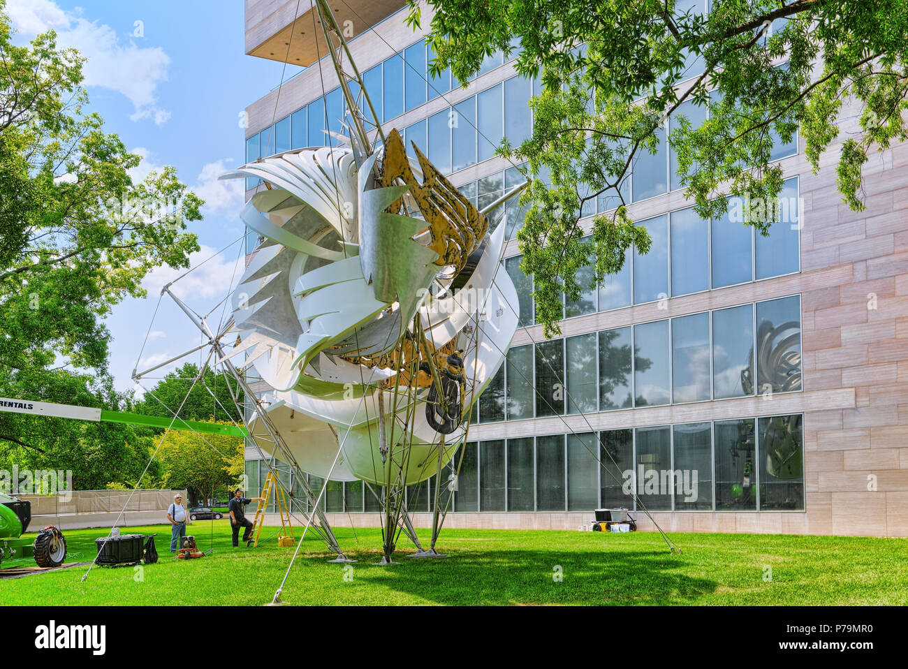 Washington, DC, USA - September 10,2017 : Artistic installation in front of Art Research Library - National Gallery of Art, 4th St NW. - Stock Image