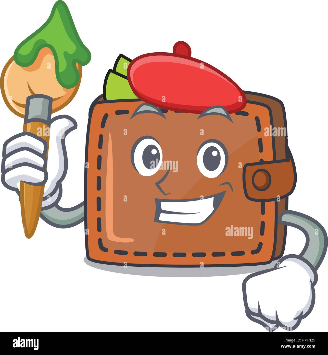 Artist wallet character cartoon style Stock Vector