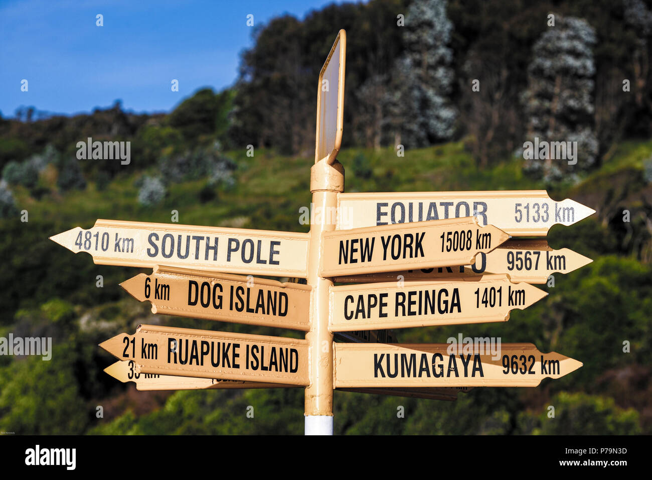 Signpost at Stirling Point showing distances to other geographic locations, Bluff, New Zealand - Stock Image
