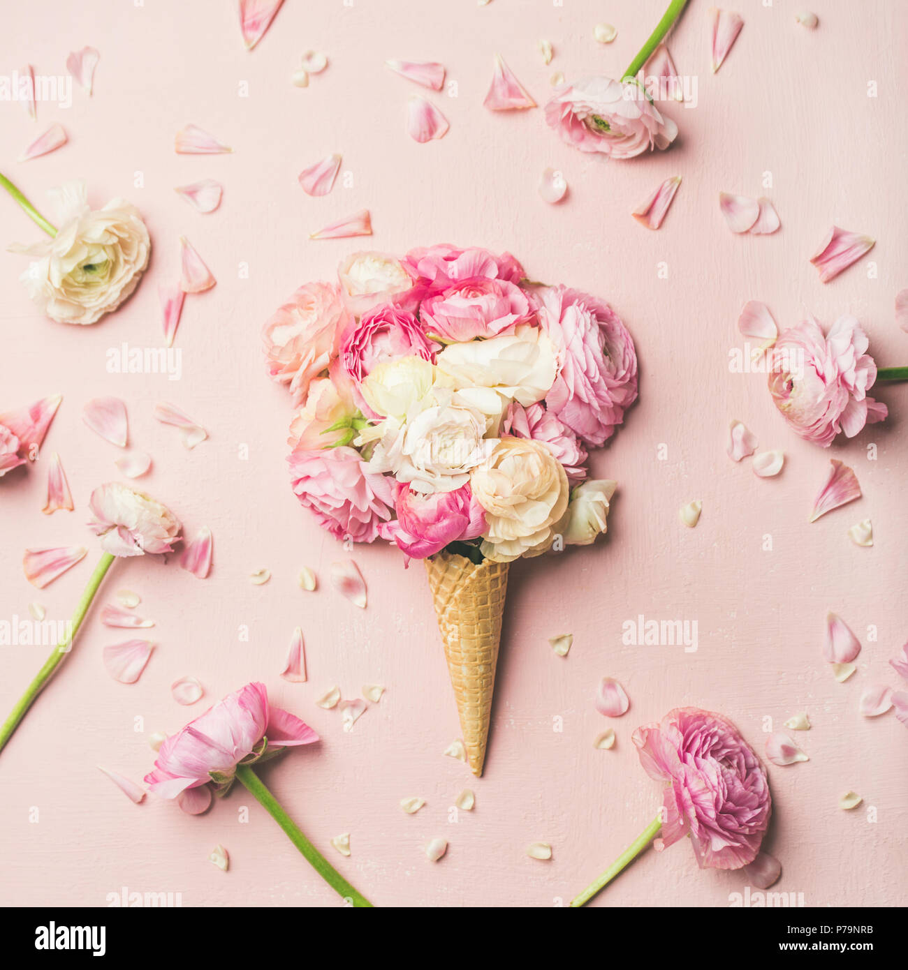 Flat-lay of waffle sweet cone with pink and white buttercup flowers over pastel light pink background, top view, square crop. Spring or summer mood co - Stock Image
