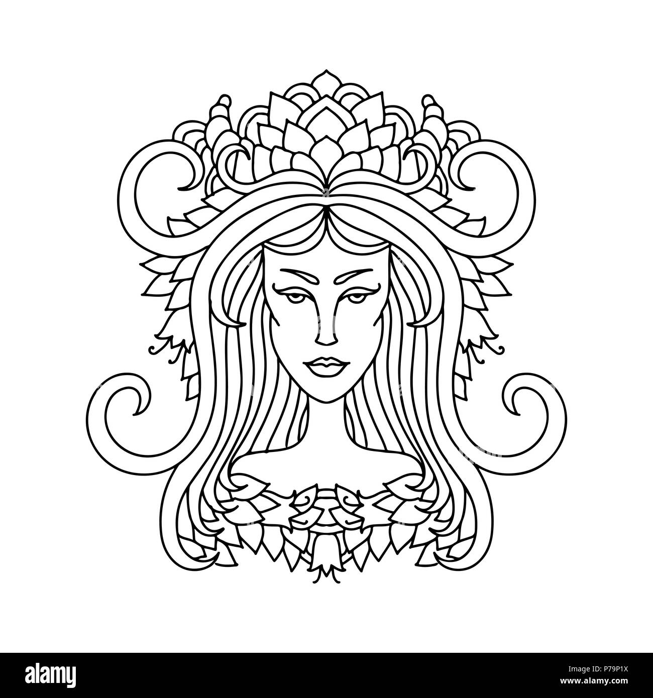 Aries Girl Portrait Zodiac Sign For Adult Coloring Book Simple