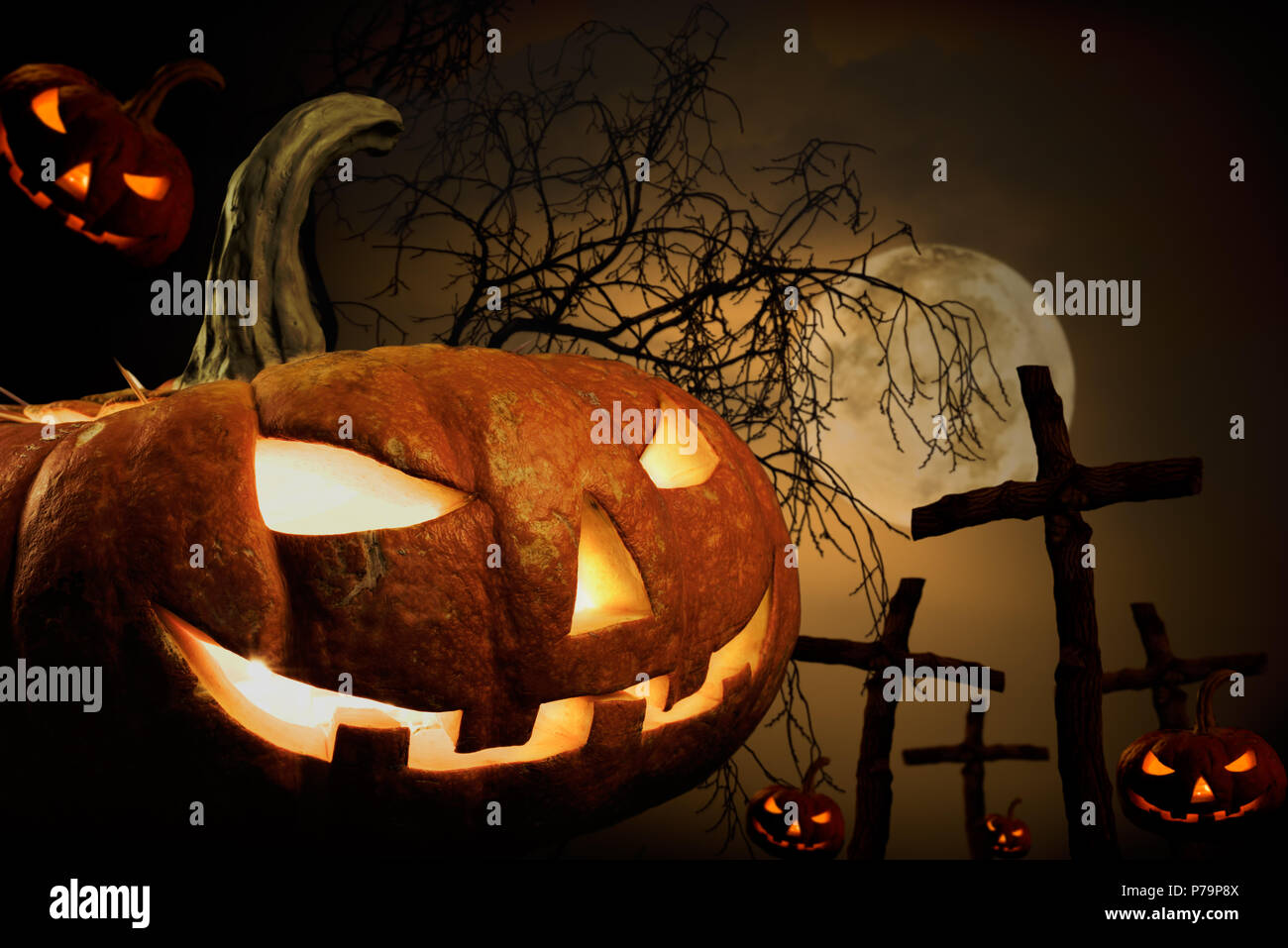 many pumpkin on burying place, concept  religious  feast  Halloween - Stock Image