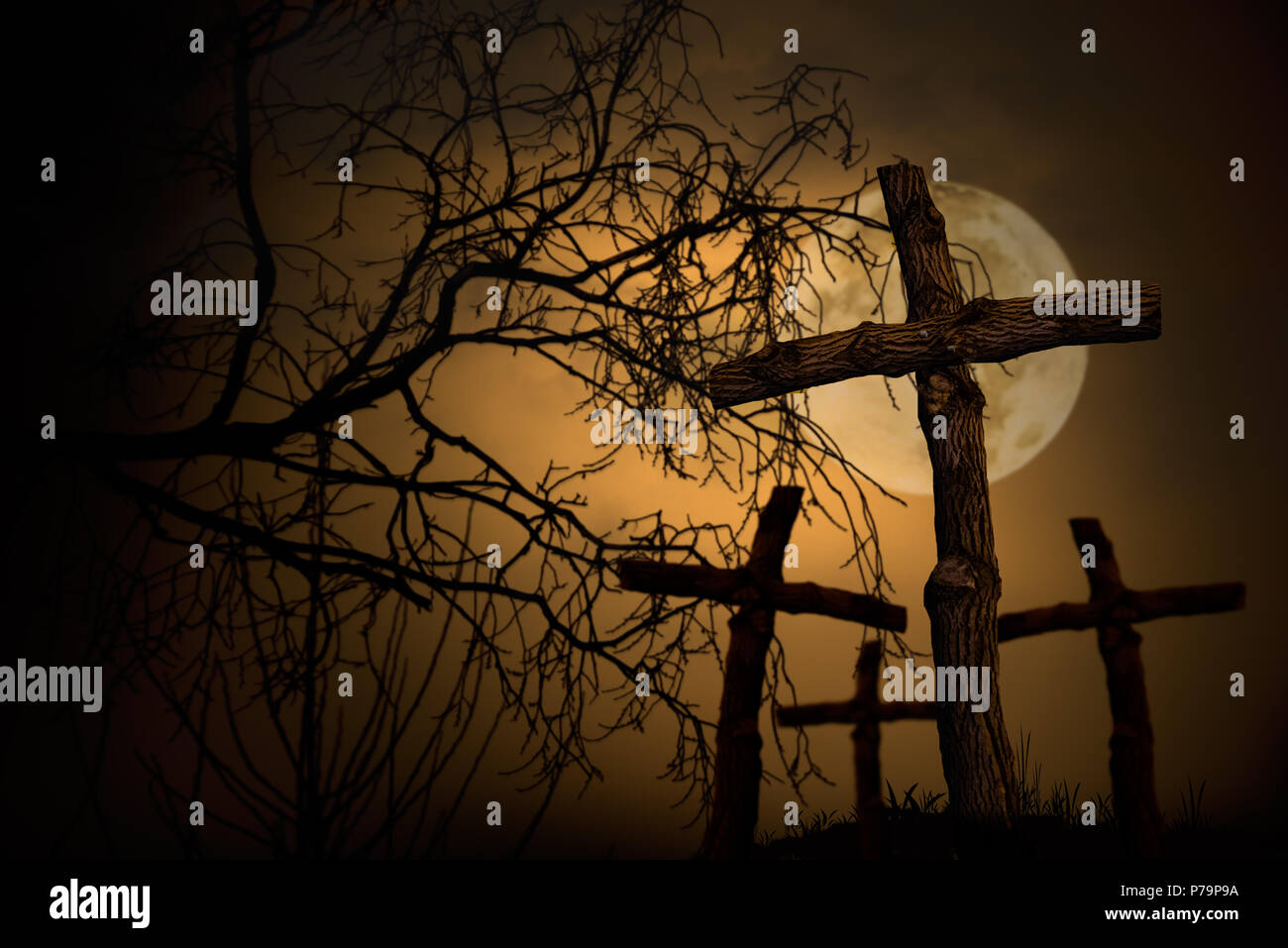 group of wooden cross on graveyard, night horror landscape whith moon - Stock Image
