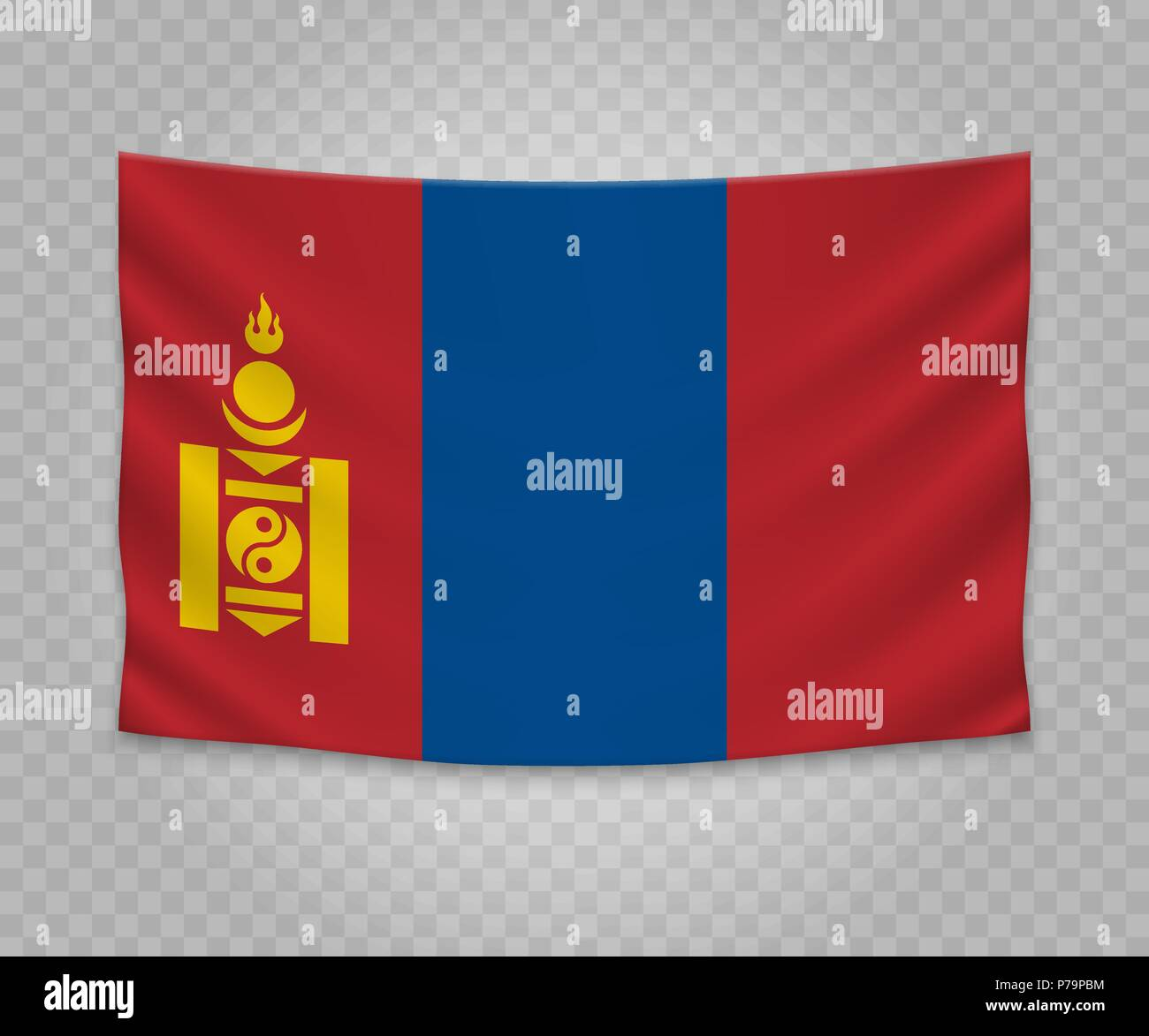 Realistic hanging flag of Mongolia. Empty  fabric banner illustration design. - Stock Vector
