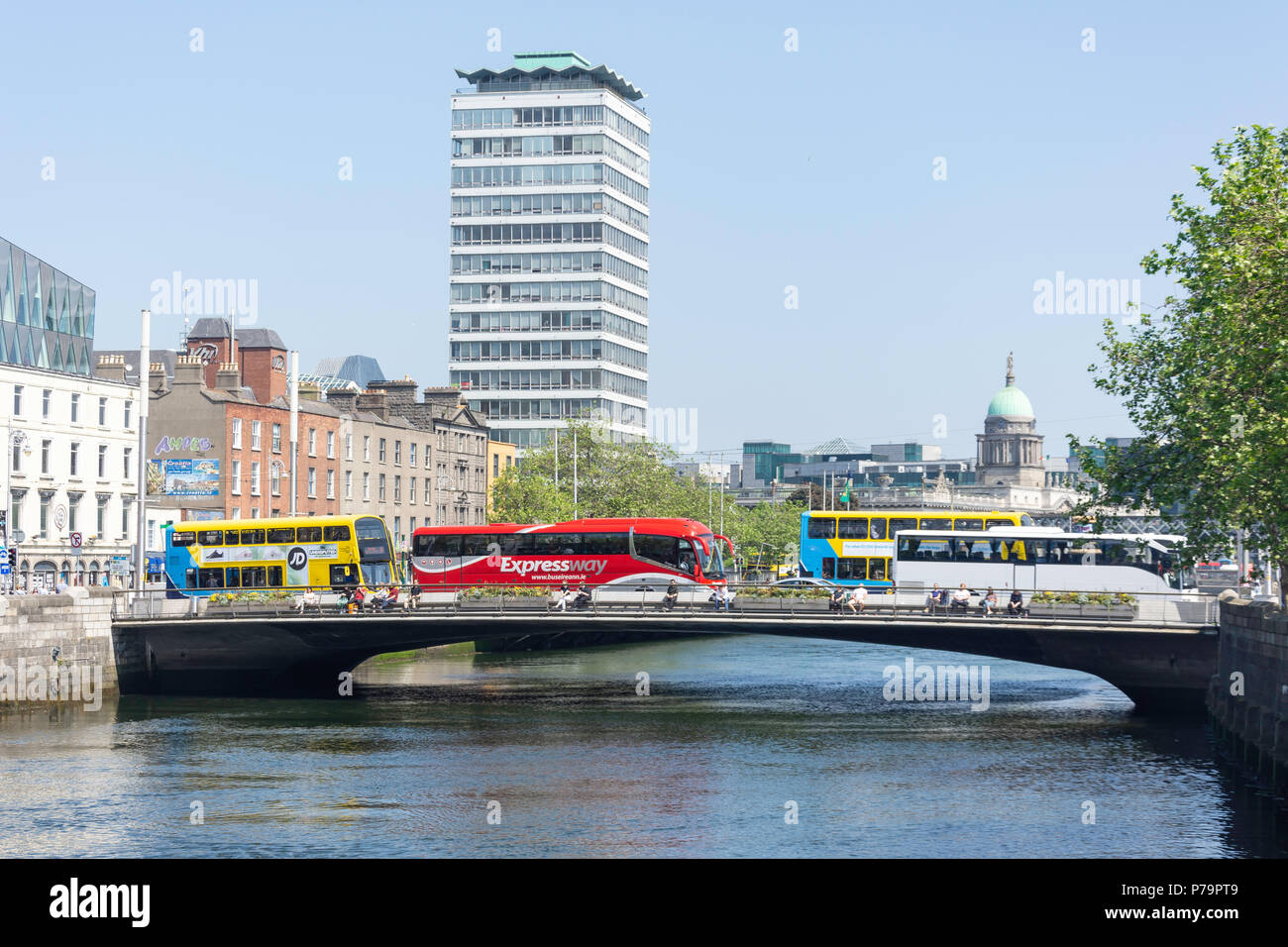 Rosie Hackett Bridge over River Liffey, Dublin, Leinster Province, Republic of Ireland - Stock Image
