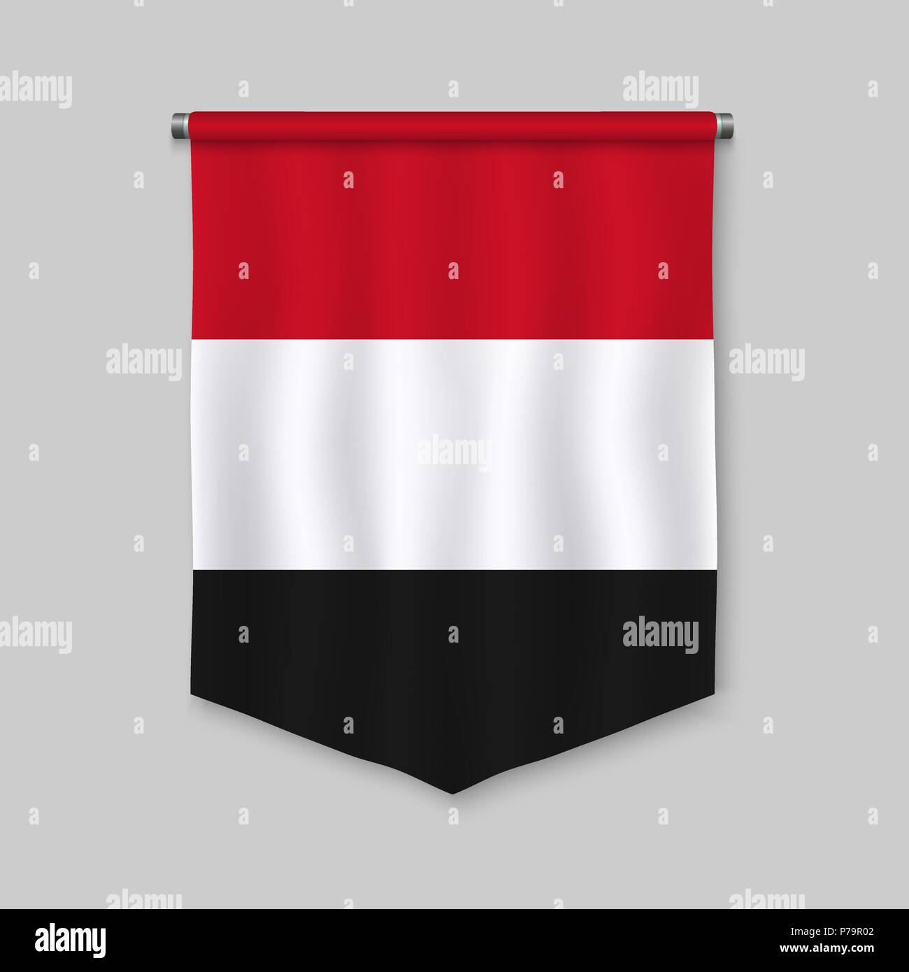 3d realistic pennant with flag of Yemen - Stock Vector