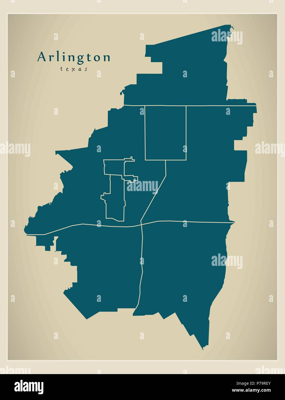 Map Of Arlington Texas.Modern City Map Arlington Texas City Of The Usa With Neighborhoods