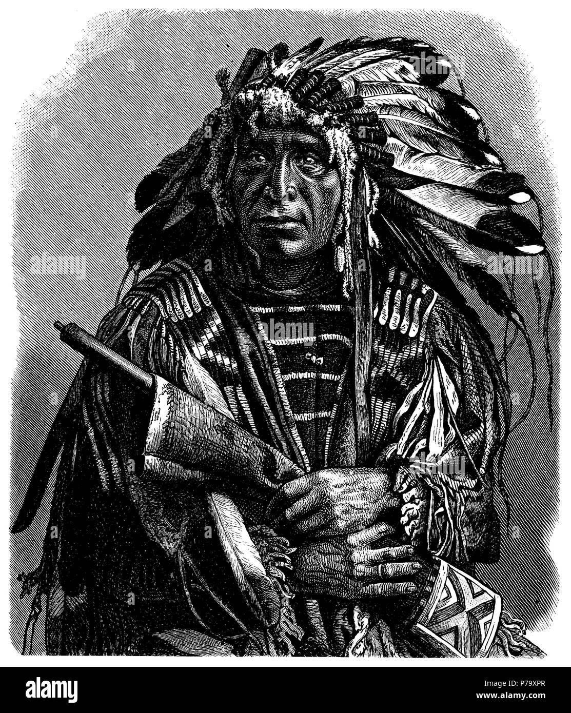 Dakota chief, Indian, anonym  1897 - Stock Image