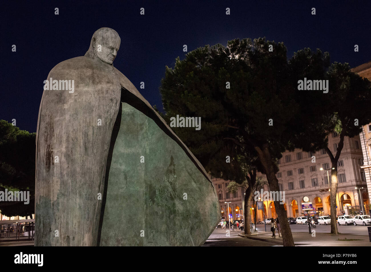 Wojtyla Pope (Giovanni Paolo II) statue. Considered by CNN broadcast one of the ten ugliest monuments of the world. Termini Train Station, Rome, Italy - Stock Image