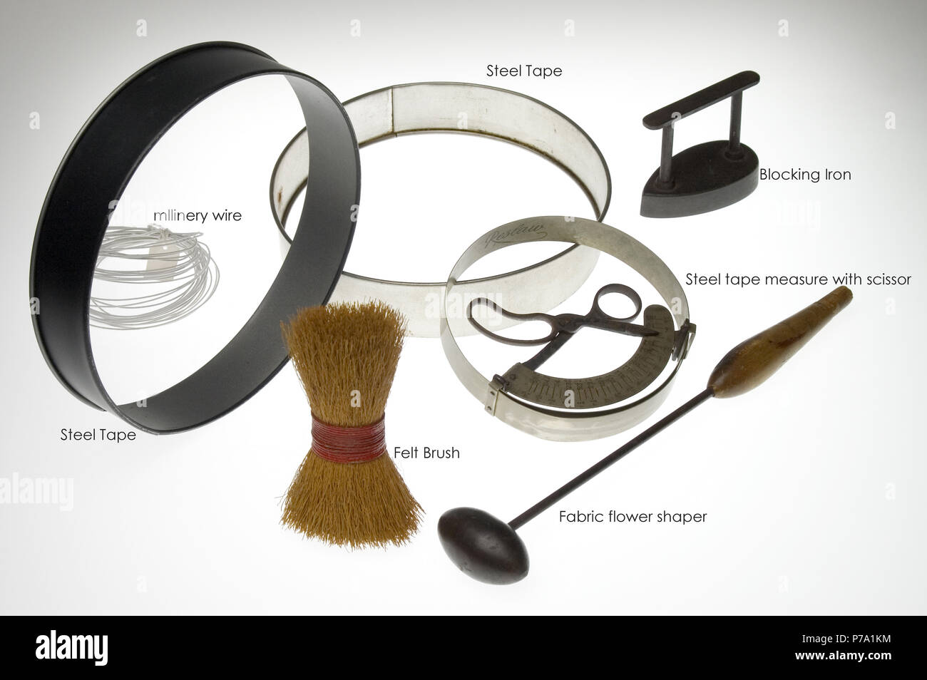 millinery hat making tools labeled and shot on a white light box - Stock Image