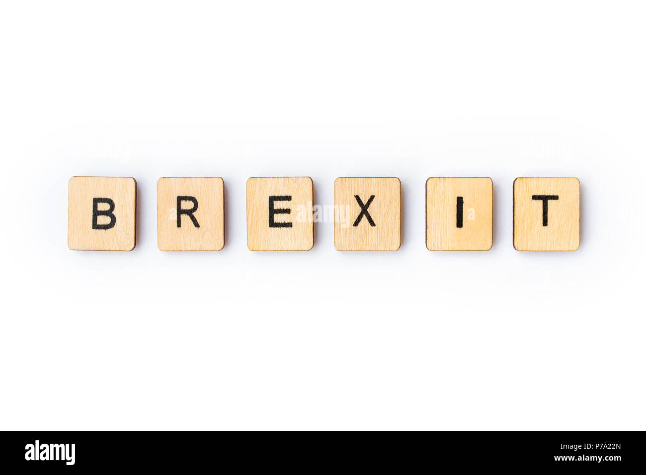london uk june 28th 2018 the word brexit spelt out with wooden