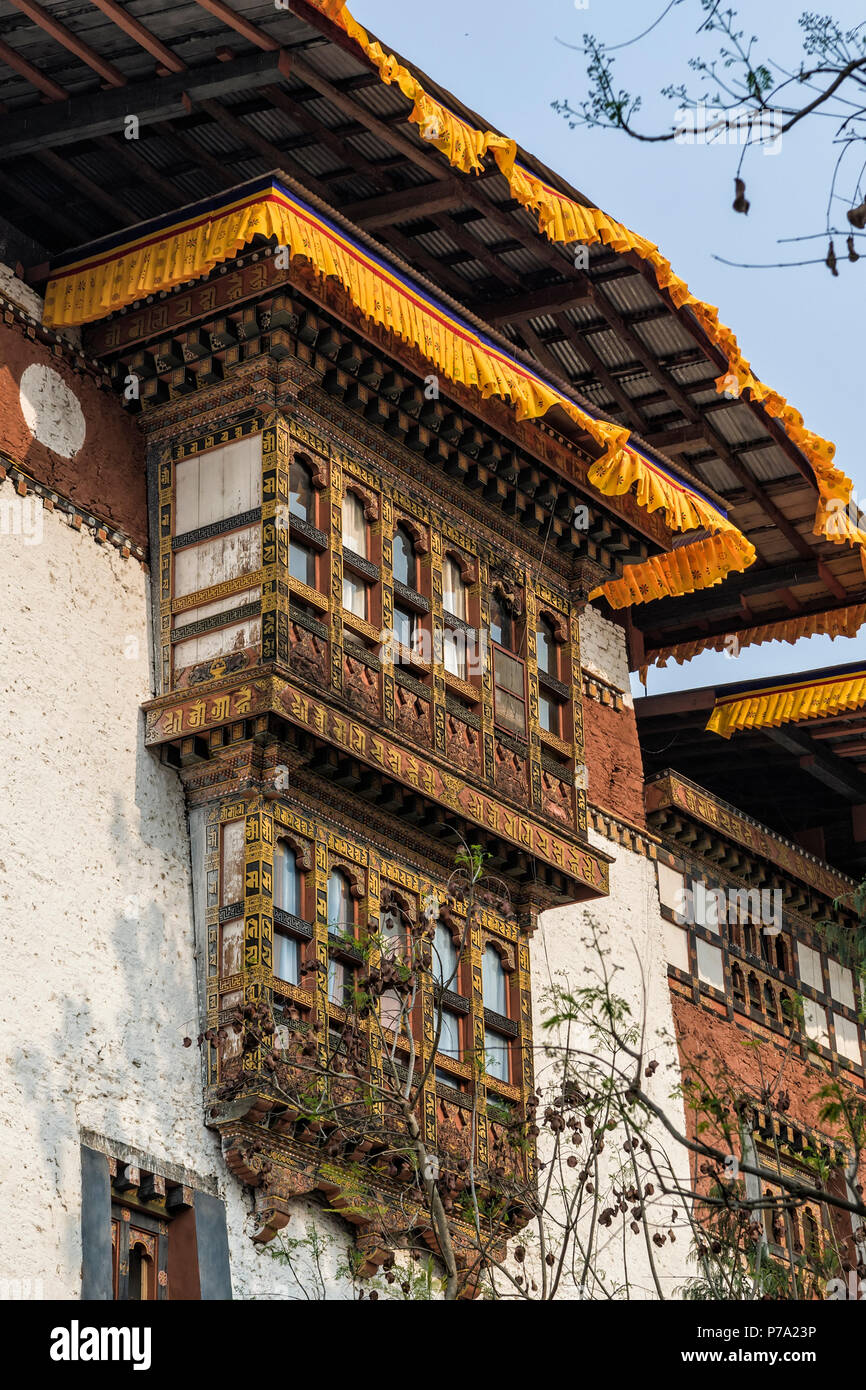 Punakha Dzong, Bhutan - Punakha Dzong or Pungthang Dewachen Phodrang (Palace of Great Happiness) in Punakha, the old capital of Bhutan. - Stock Image
