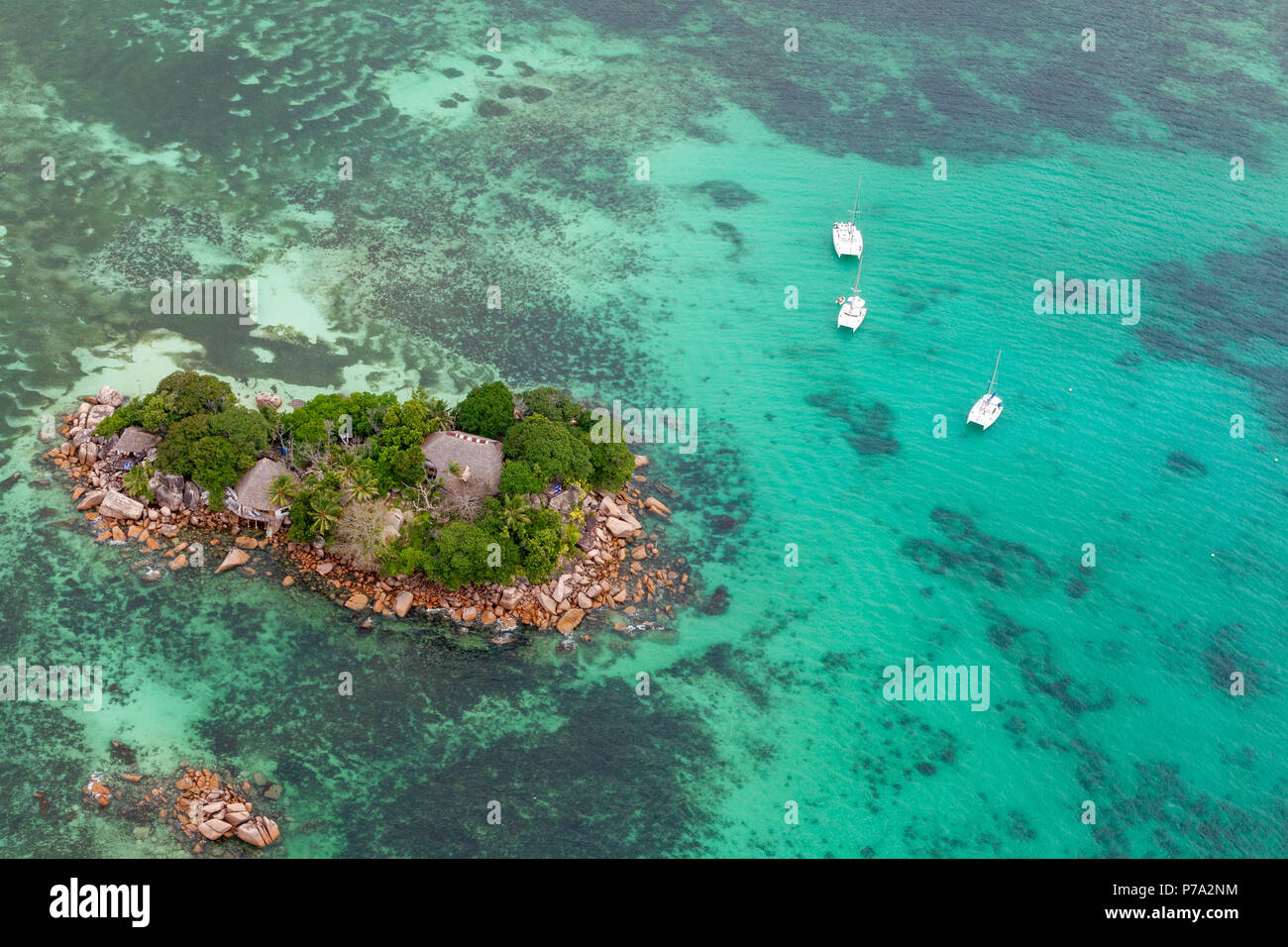 Aerial view of the small island Chauve Souris near Praslin, Seychelles in the Indian Ocean. Stock Photo