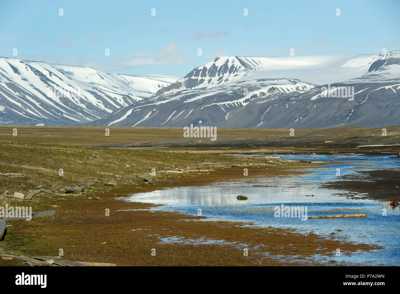 Artic Tundra scene on Spitsbergen, Svalbard, Norway in the Arctic Circle Stock Photo