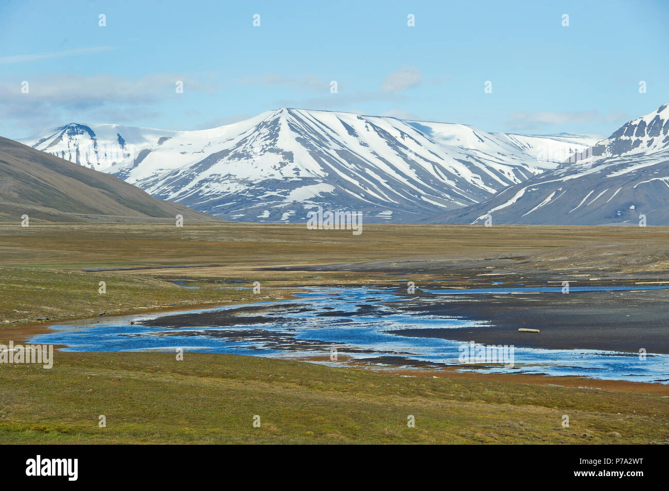 Artic Tundra scene on Spitsbergen, Svalbard, Norway in the Arctic Circle - Stock Image
