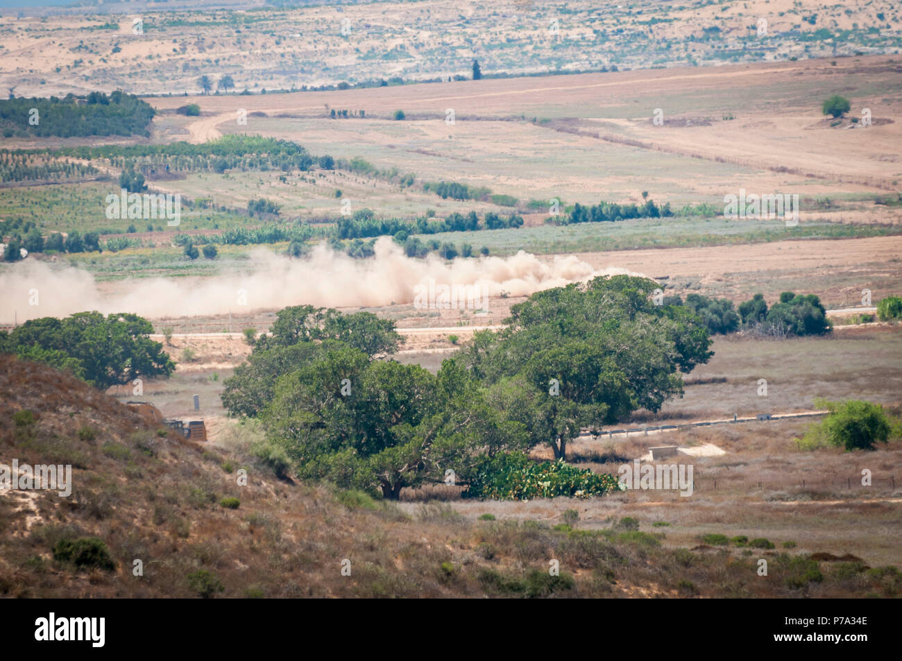 Israeli army destroys Hamas military tunnel stretching to the territory of Israel during the military operation Protective Edge. Erez, July 2014. Stock Photo