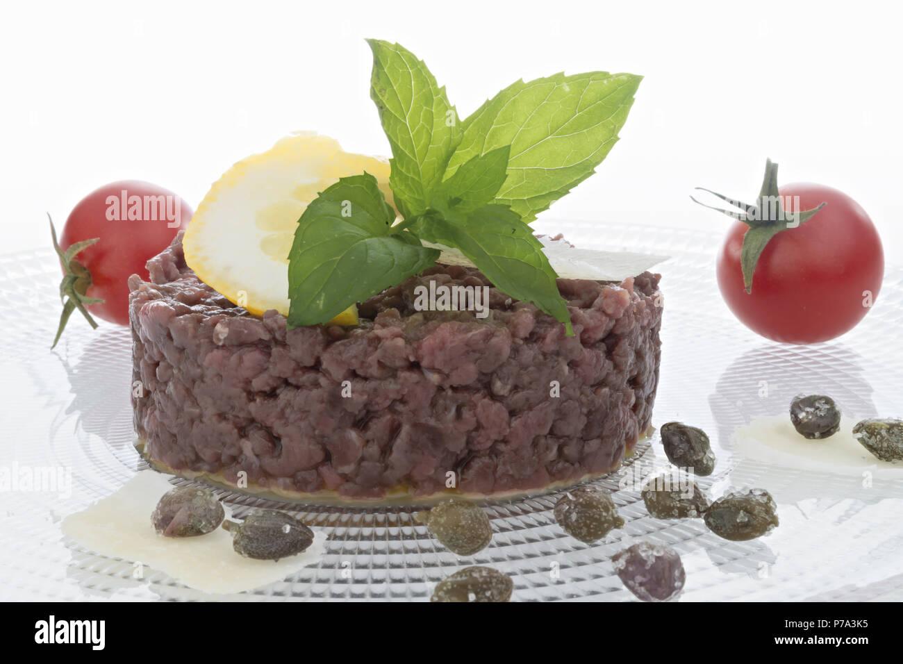 Simple seasoned meat tartare Stock Photo