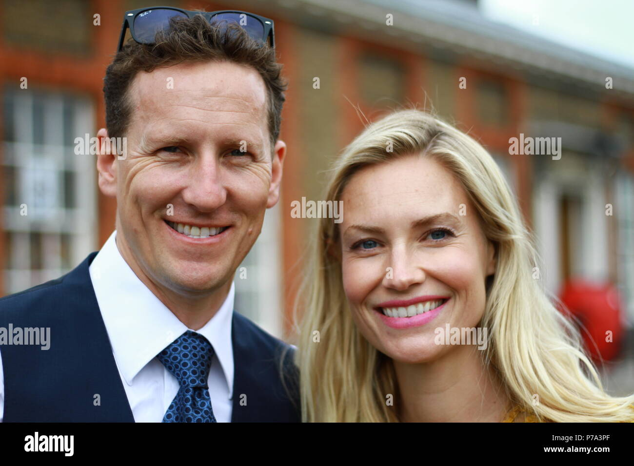 Brendon Cole and his Wife Zoe Hobbs attending The RHS Chelsea flower show on press day on 21st May 2018. - Stock Image