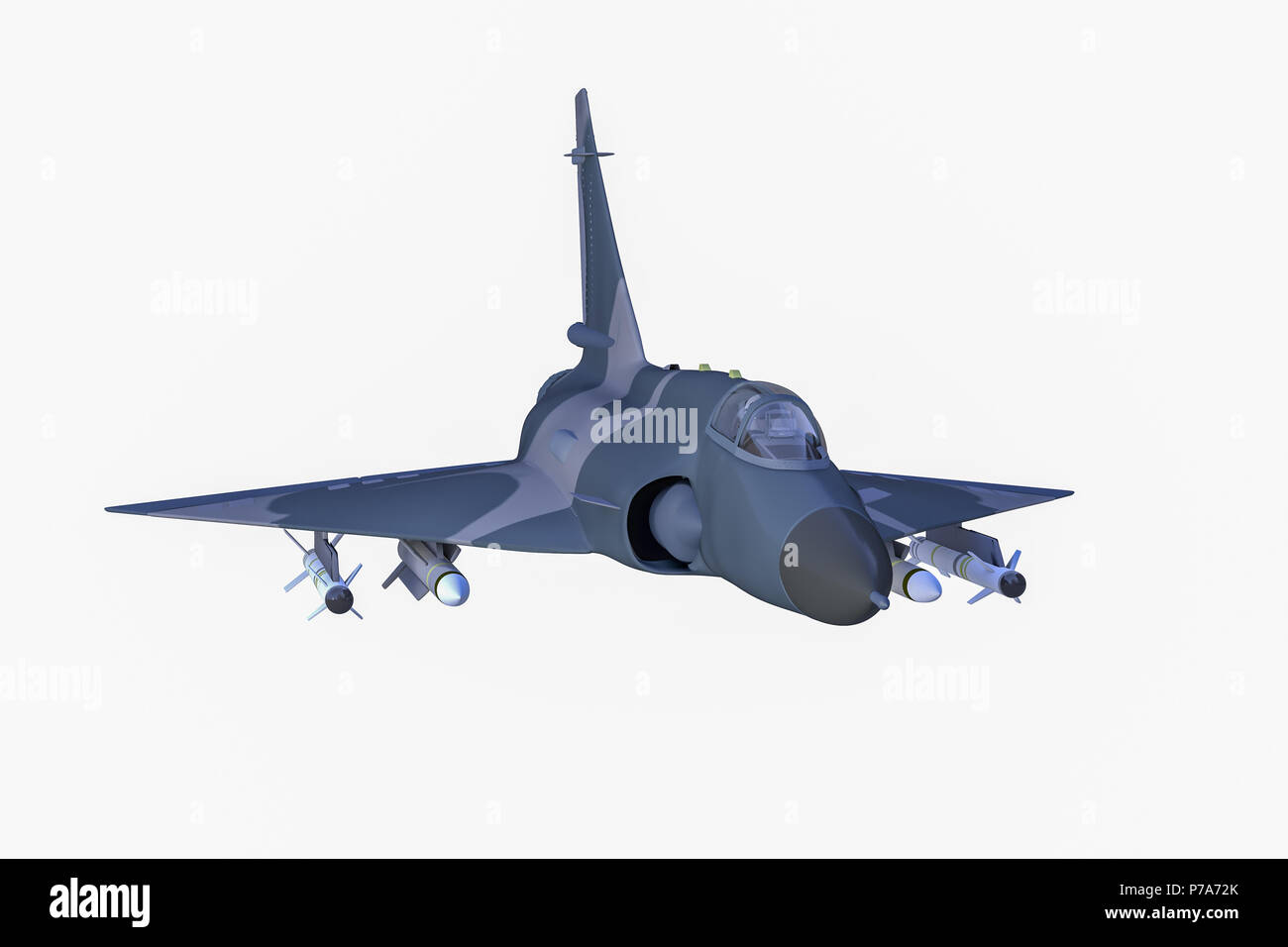 a military combat jet in front of isolated background(3d rendering) Stock Photo