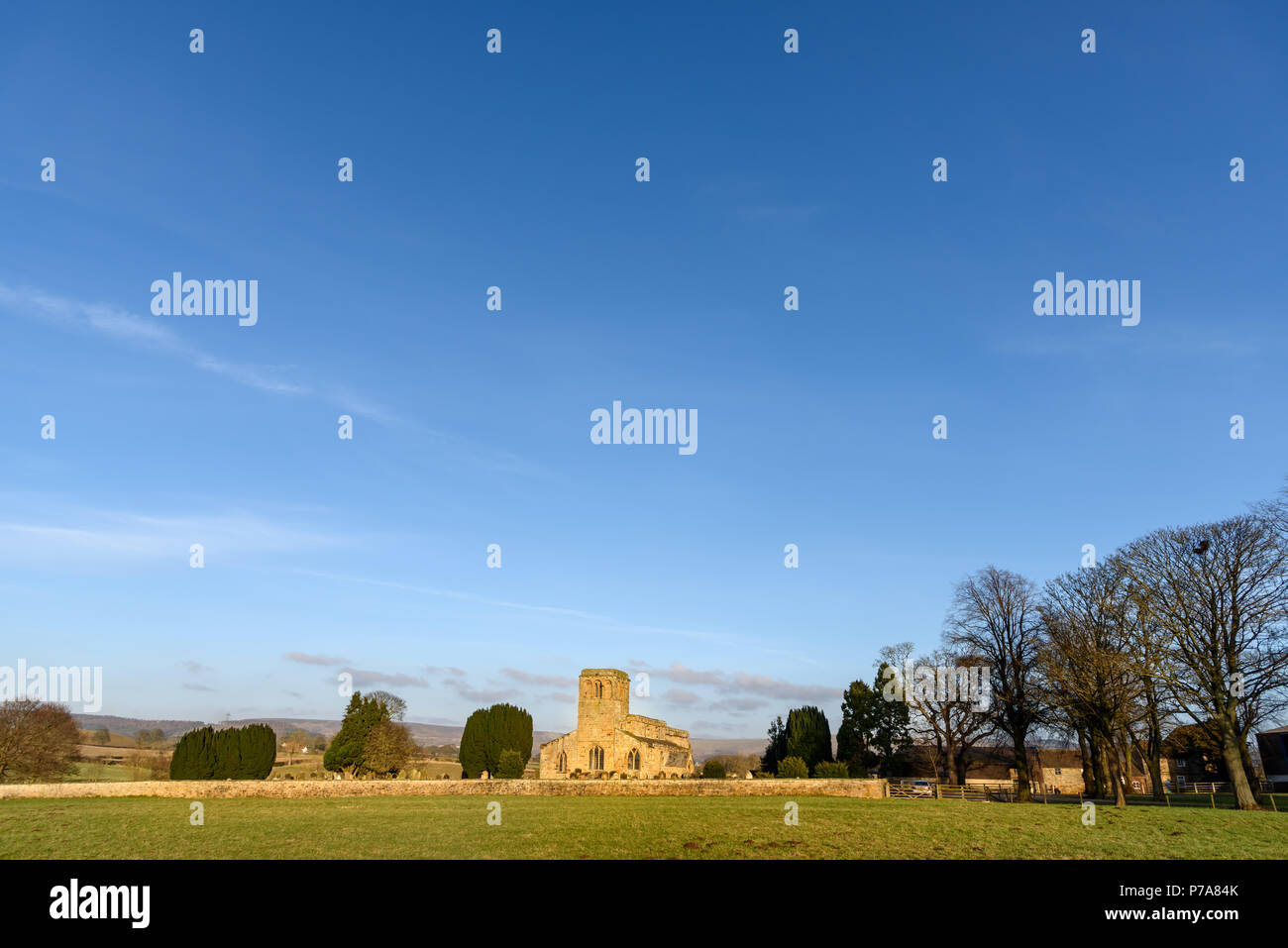 A medieval church along road in Teeside near Middlesbrough. - Stock Image