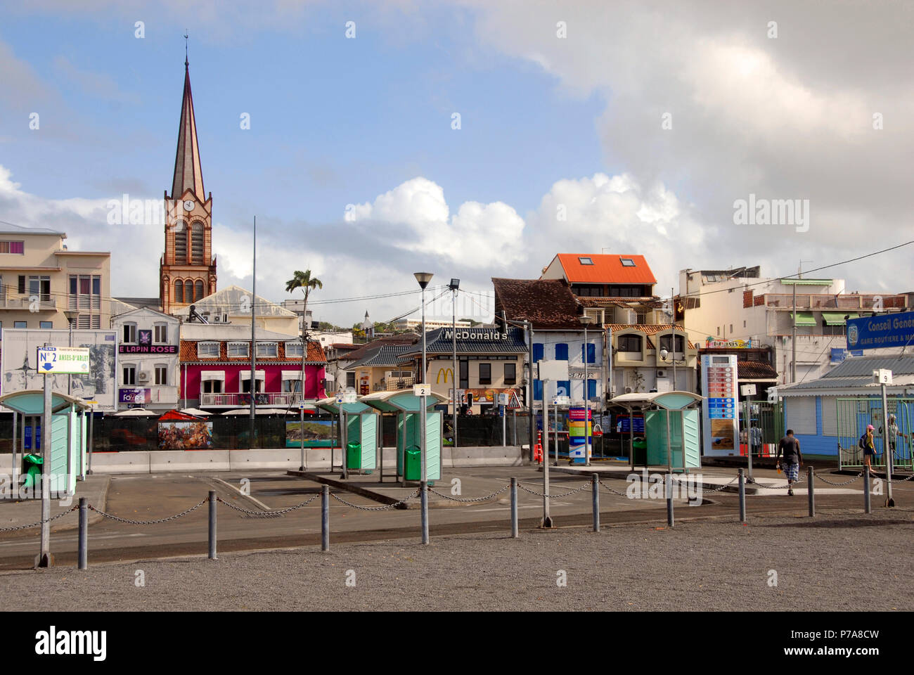 Harbor-side market area, Fort de France, Martinique, Caribbean, closed today as it is Sunday - Stock Image