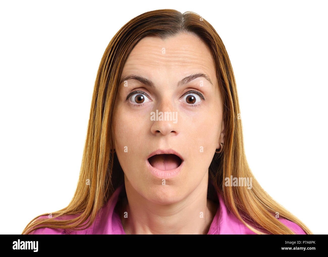 Shocked Expression on a Womans Face, Cut Out - Stock Image