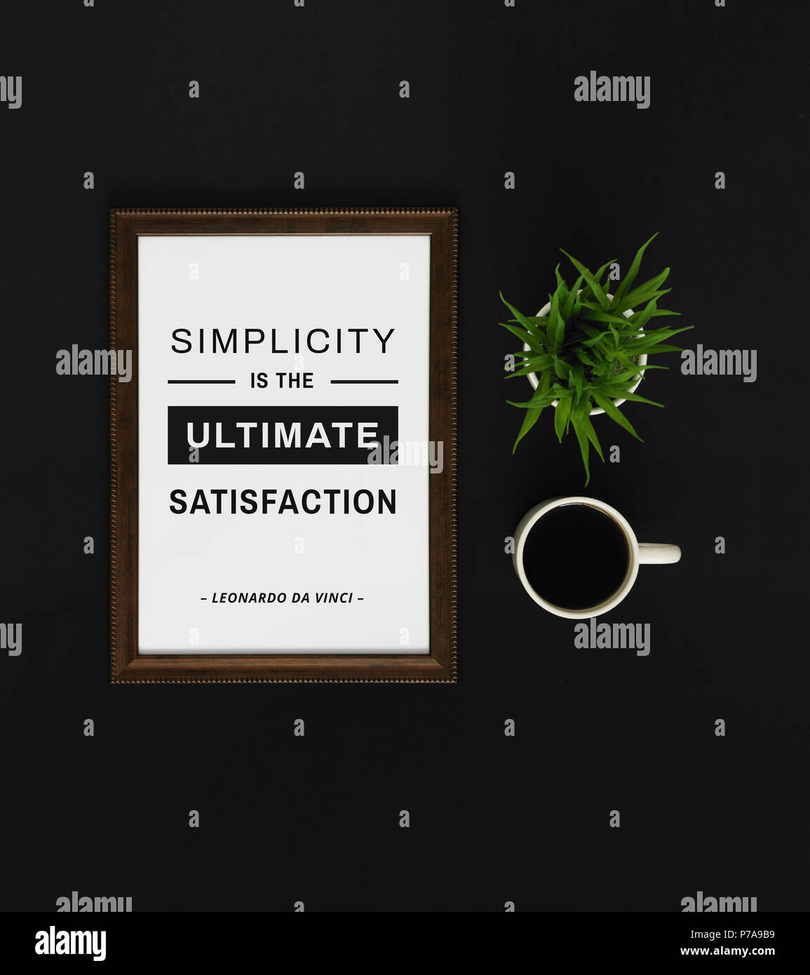 Motivational and inspirational quote. Wisdom quote. Wood frame with coffee on black background with quote. Minimal and elegant flat lay. - Stock Image