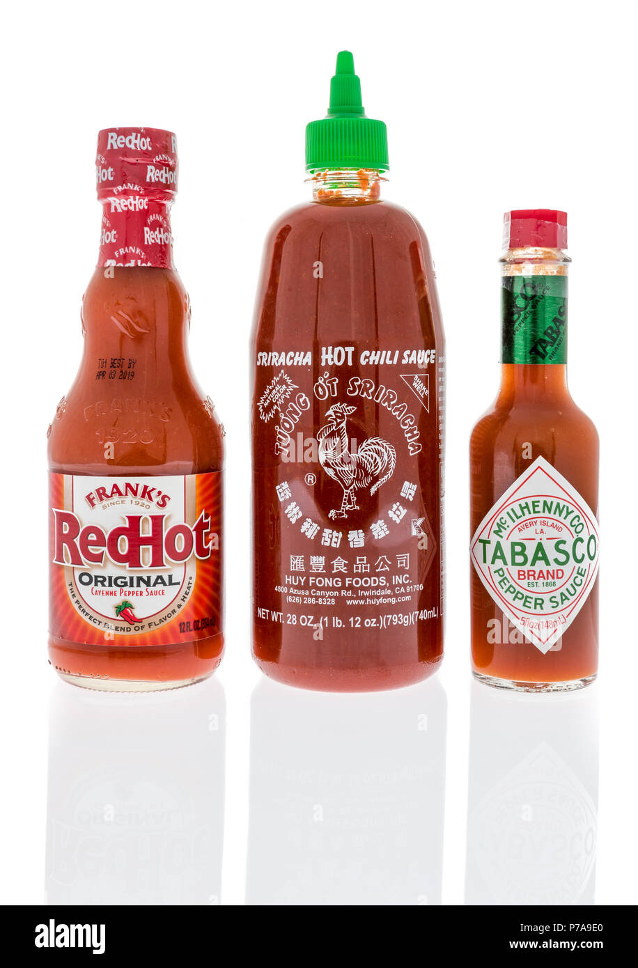 Download Winneconne Wi 1 July 2018 Bottles Of The Best Selling Hot Sauce In The World Includes Frank S Redhot Sriracha Chili Sauce And Tabasco Pepper Sauc Stock Photo Alamy Yellowimages Mockups