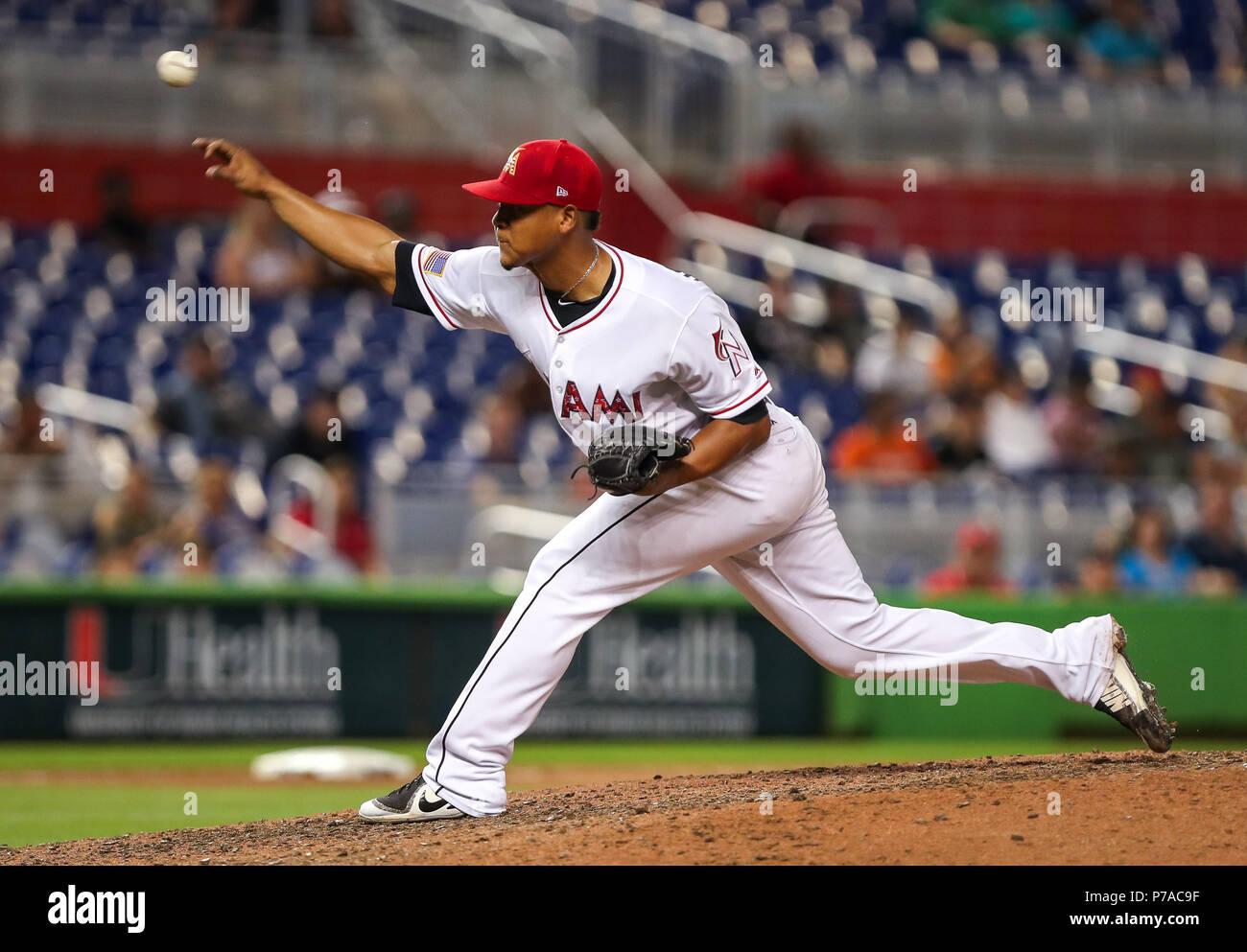 cheaper 64713 bd2b0 July 03, 2018: Miami Marlins pitcher Elieser Hernandez (57 ...