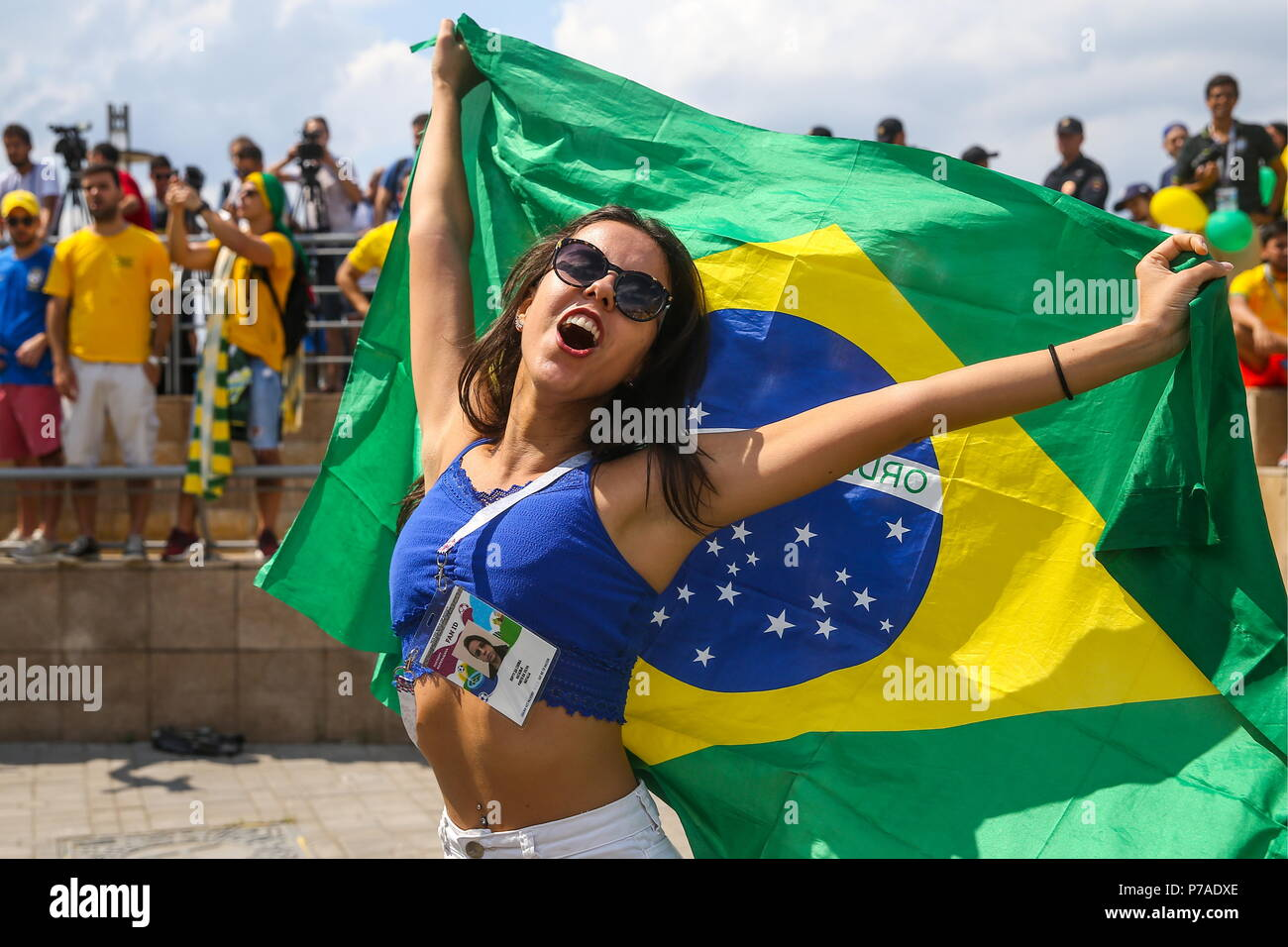Kazan russia 05th july 2018 kazan russia july 5 2018 kazan russia july 5 2018 supporters of brazil greet brazils national football team as they arrive in kazan on the eve of a 2018 fifa world m4hsunfo