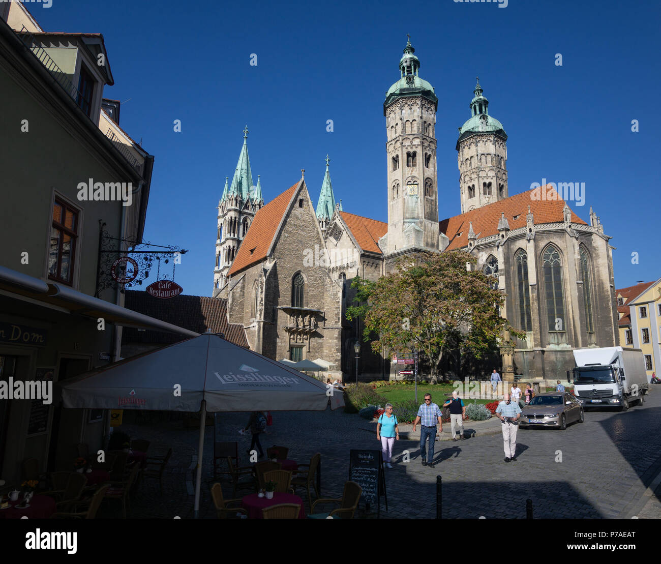 16 October 2017, Naumburg/Saale, Germany: The Naumburg Cathedral. The building in Saxony-Anhalt was declared a UNESCO World Heritage Site on 01.07.2018. The Naumburg Cathedral St. Peter and Paul was created in the 13th century and is counted among the most important cathedral buildings of the European high Middle Ages. Photo: Frank Rumpenhorst/dpa - Stock Image